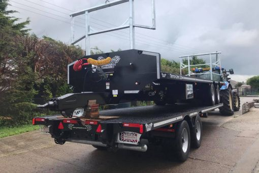 Two Terra-Line bale trailers stacked on route to PK Sales