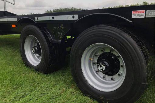 Close view of Terra-Line bale trailer wheels
