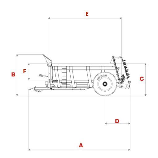 Muckspreader dimensions diagram